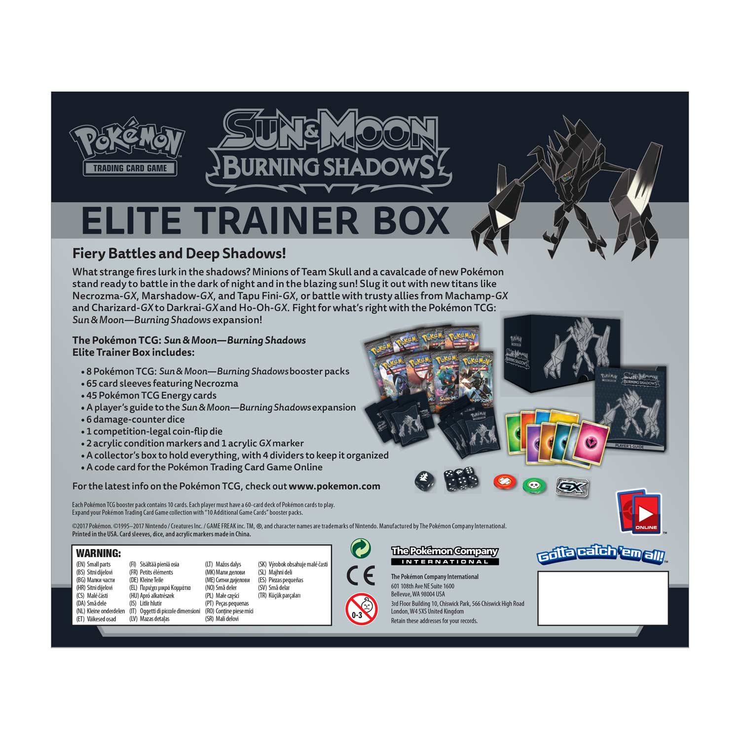 Pokemon: S/M Burning Shadows Elite Trainer Box $30