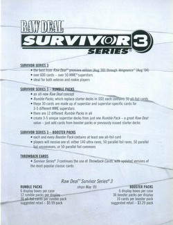 Raw Deal CCG: Survivor Series 3 Rumble Pack #2 [Austin, Rattlesnake, Hurricane, Keibler]