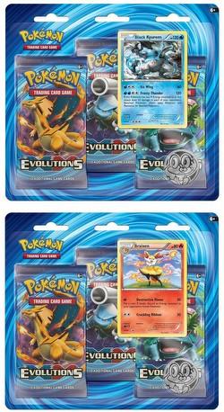 Pokemon TCG: XY Evolutions 3-Pack Blister Booster Set [Black Kyurem/Braixen]