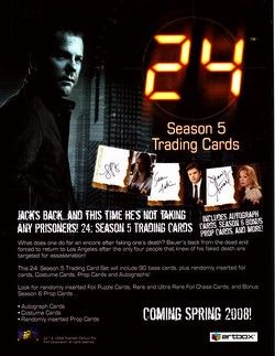 Twenty-Four 24 TV Show Season 5 Trading Cards Box