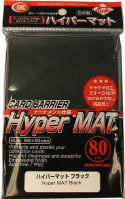 KMC Card Barrier Mat Series Standard Size Deck Protectors - Hyper Matte Black Case [30 packs]