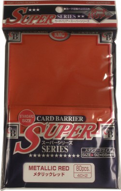 KMC Card Barrier Super Series Standard Size Sleeves - Metallic Red Case [30 packs]