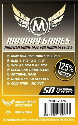 Mayday Mini USA American Premium Board Game Sleeves Case [100 Packs/41mm x 63mm]