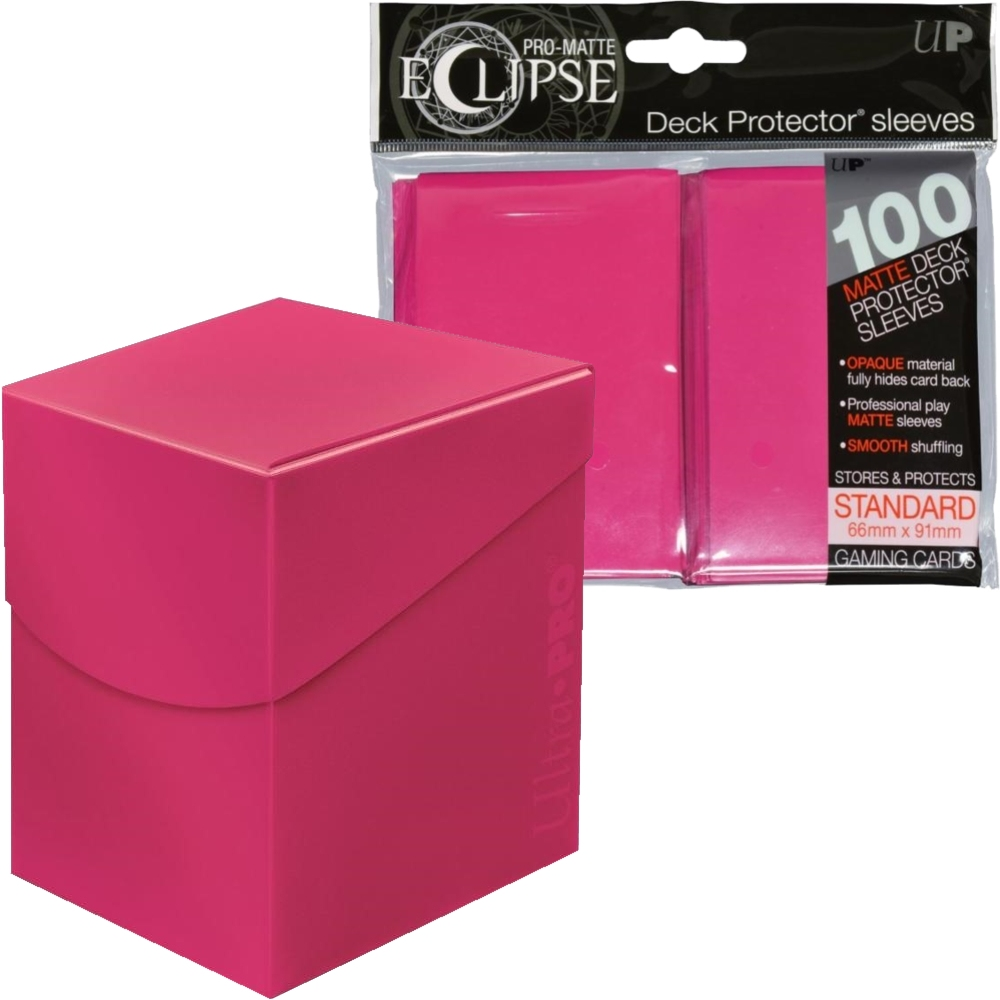 100 Bright Pink Ultra Pro Standard Pro Matte Deck Protector Card Sleeves+DeckBox