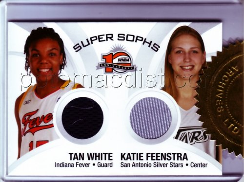 06 2006 Rittenhouse Archives WNBA Basketball Tan White/Katie Feenstra Dual Jersey Case Card [CT1]