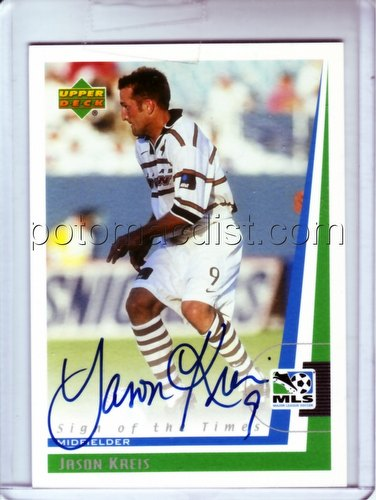 99 1999 Upper Deck MLS Soccer Jason Kreis Autograph Card [#JK]