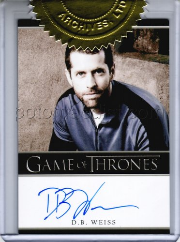 Game of Thrones: Season Two Trading Cards 3-Case Incentive D.B. Weiss Autograph Card