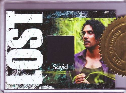 Lost Seasons Archives Trading Cards Naveen Andrews as Sayid Jarrah Costume/Relic Case Card (518/600)