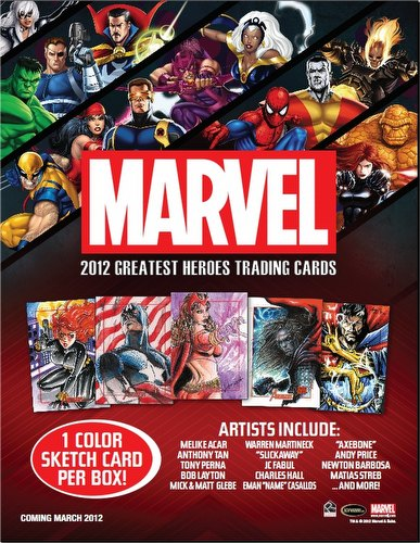 Marvel 2012 Greatest Heroes Trading Cards Box Case [12 boxes]