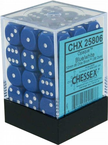 Chessex Opaque 12mm Pipped d6 Dice Block [Blue w/white - 36 dice]