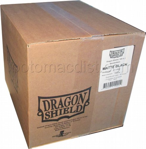 Dragon Shield Standard Size Card Game Sleeves Case - Matte Black [5 boxes]