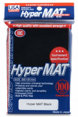KMC Hyper Matte USA 100 ct. Standard Size Sleeves - Black [10 packs]