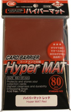 KMC Card Barrier Mat Series Standard Size Sleeves - Hyper Matte Red Case [30 packs]