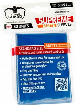 Ultimate Guard Supreme Standard Size Matte Blue Sleeves Box [10 packs]