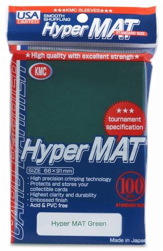 KMC Hyper Matte USA 100 ct. Standard Size Sleeves - Green Pack
