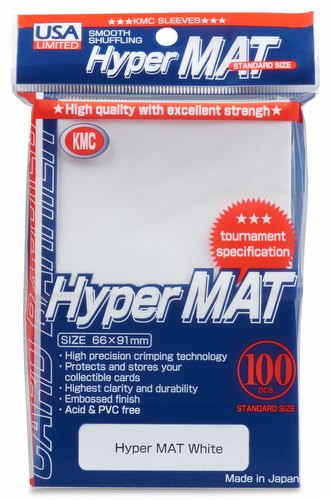 KMC Hyper Matte USA 100 ct. Standard Size Sleeves - White Pack