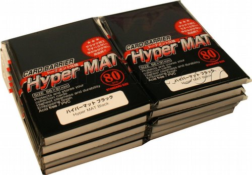 KMC Card Barrier Mat Series Standard Size Deck Protectors - Hyper Matte Black [10 packs]