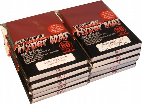 KMC Card Barrier Mat Series Standard Size Sleeves - Hyper Matte Red [10 packs]