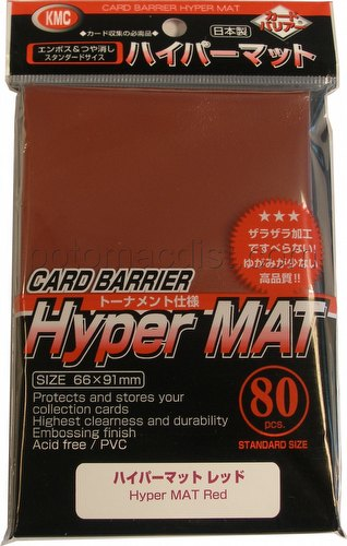KMC Card Barrier Mat Series Standard Size Deck Protectors Pack - Hyper Matte Red