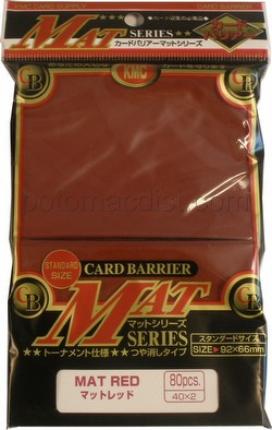 KMC Card Barrier Mat Series Standard Size Sleeves - Matte Red Pack