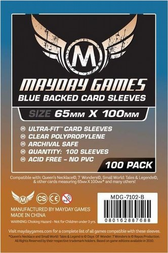 Mayday 7 Wonders Magnum Ultra-Fit Blue Back Board Game Sleeves [10 Packs/65mm x 100mm]