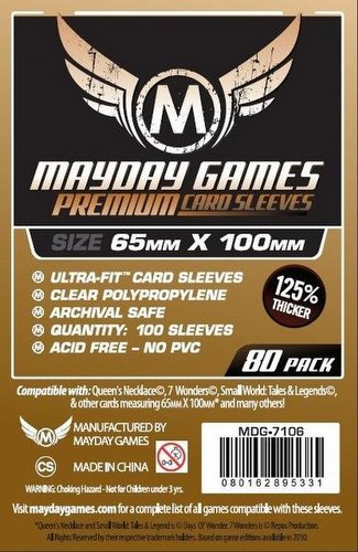 Mayday 7 Wonders Magnum Ultra-Fit Premium Board Game Sleeves Pack [65mm x 100mm]