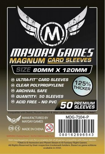 Mayday Dixit Black Backed Magnum Ultra-Fit Premium Board Game Sleeves Pack [80mm x 120mm]