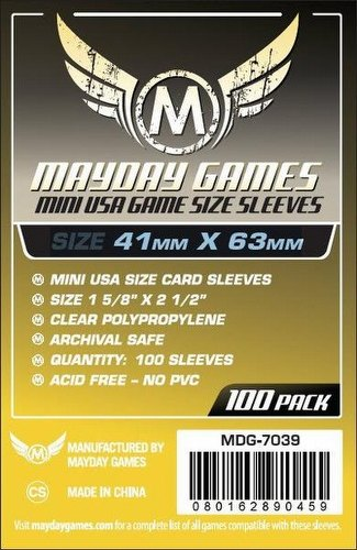 Mayday Mini USA American Board Game Sleeves [10 Packs/41mm x 63mm]