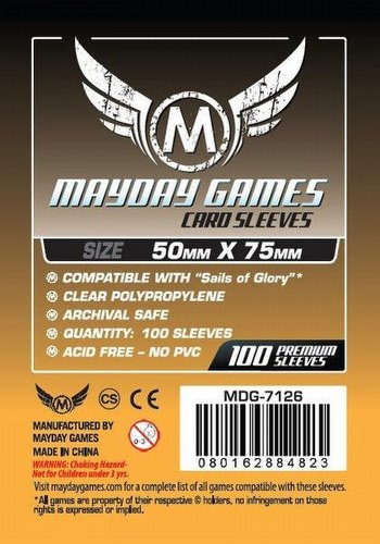 Mayday Sails of Glory Board Game Sleeves Pack [50mm x 75mm]