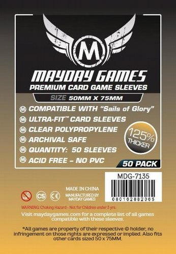 Mayday Sails of Glory Premium Board Game Sleeves Case [100 Packs/50mm x 75mm]