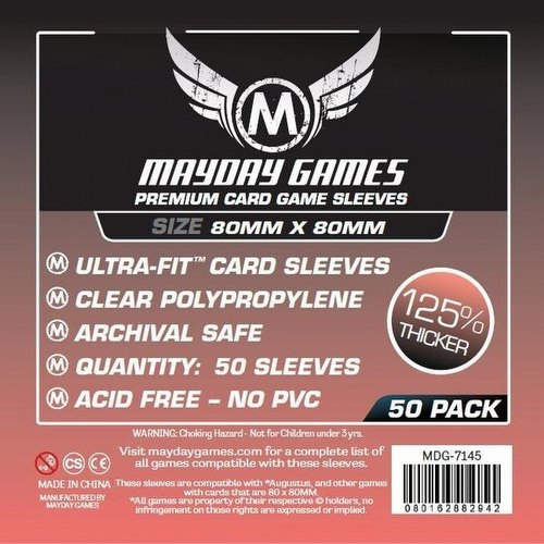 Mayday Square Medium Premium Board Game Sleeves [10 Packs/80mm x 80mm]