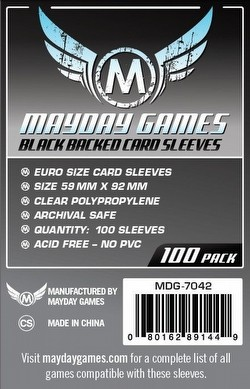 Mayday Standard European Black Backed Board Game Sleeves Pack [59mm x 92mm]
