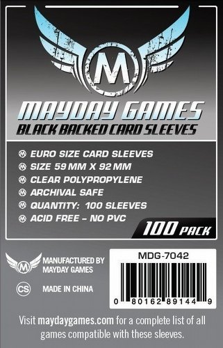 Mayday Standard European Black Backed Board Game Sleeves Case [100 Packs/59mm x 92mm]