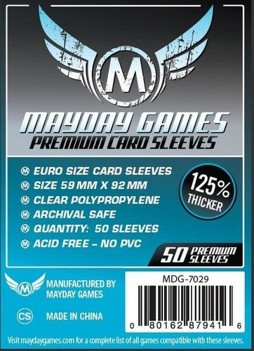 Mayday Standard European Premium Board Game Sleeves Pack [59mm x 92mm]