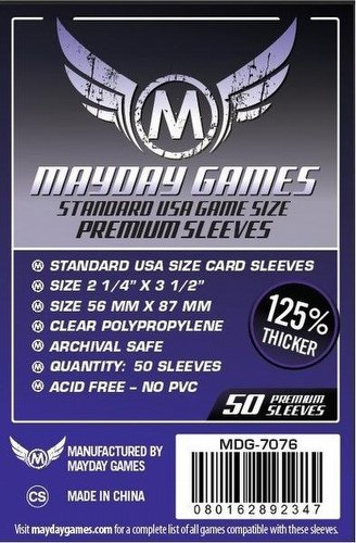 Mayday Standard USA American Premium Board Game Sleeves [10 Packs/56mm x 87mm]