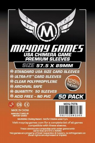 Mayday Standard USA American Chimera Premium Board Game Sleeves Pack [57.5mm x 89mm]