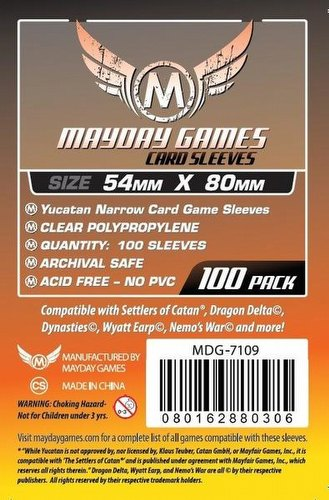 Mayday Yucatan Narrow Board Game Sleeves Pack [54mm x 80mm]