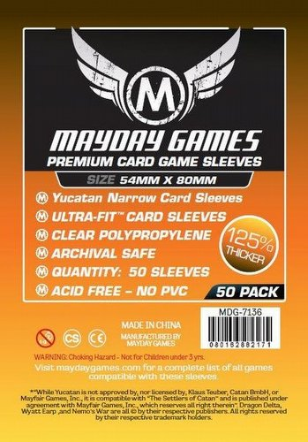 Mayday Yucatan Narrow Premium Board Game Sleeves Case [100 Packs/54mm x 80mm]