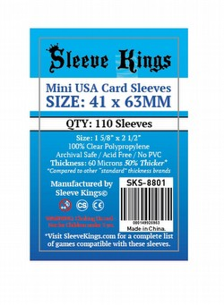 Sleeve Kings Mini USA American Board Game Sleeves Pack [41mm x 63mm]