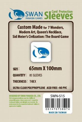 Swan Panasia 7 Wonders Premium Board Game Sleeves Pack [65mm x 100mm]