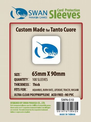 Swan Panasia Tanto Cuore Premium Board Game Sleeves [10 Packs/65mm x 90mm]