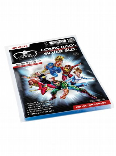 Ultimate Guard Silver Size Resealable Comic Bags Case [10 packs]