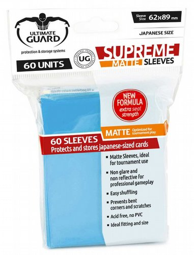 Ultimate Guard Supreme Yu-Gi-Oh/Japanese Size Matte Light Blue Sleeves Pack