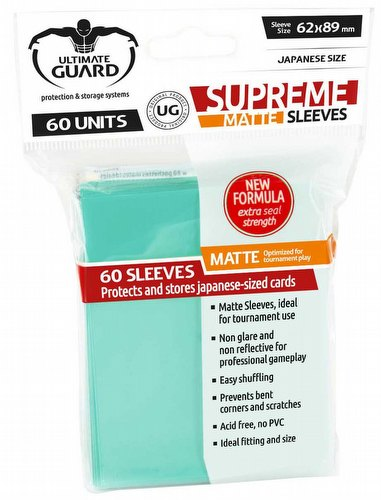 Ultimate Guard Supreme Yu-Gi-Oh/Japanese Size Matte Turquoise Sleeves Pack