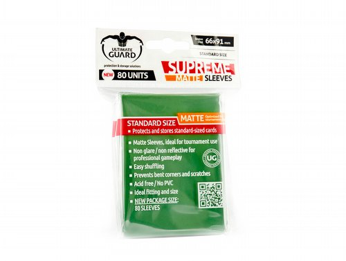 Ultimate Guard Supreme Standard Size Matte Green Sleeves Pack