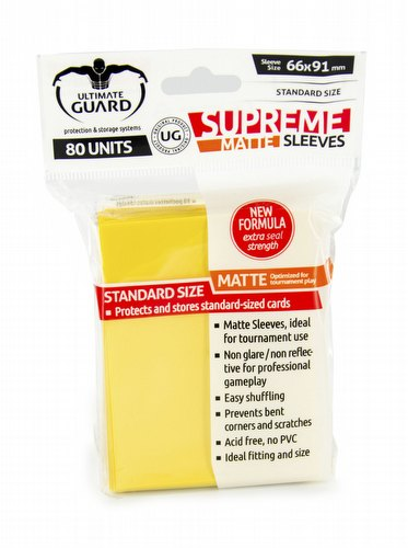 Ultimate Guard Supreme Standard Size Matte Yellow Sleeves Pack