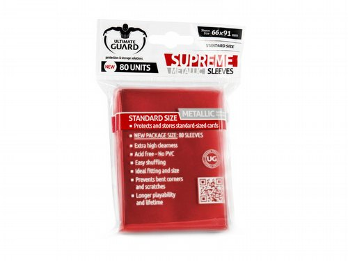 Ultimate Guard Supreme Standard Size Metallic Red Sleeves Pack