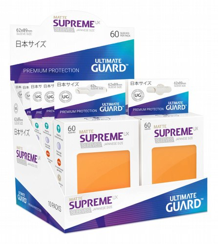 Ultimate Guard Supreme UX Japanese/Yu-Gi-Oh Size Matte Orange Sleeves Box [10 packs]