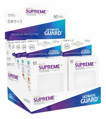 Ultimate Guard Supreme UX Japanese/Yu-Gi-Oh Size Matte White Sleeves Box [10 packs]
