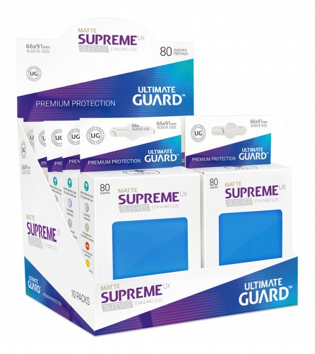 Ultimate Guard Supreme UX Standard Size Matte Royal Blue Sleeves Box [10 packs]